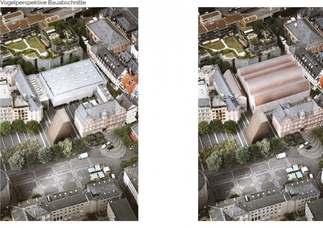 Vorher-Nachher-Vergleich zwischen 1. Bauabschnitt (Bibelturm) und den gesamten Baumaßnahmen am Gutenberg-Museum (Stand Dezember 2018) ©DFZ Architekten GmbH