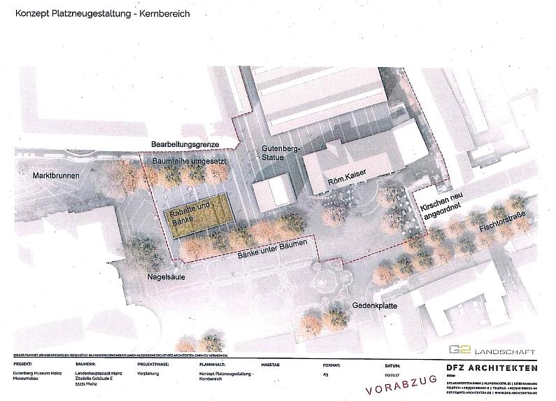 Liebfrauenplatz und Gutenberg-Museum nach Baumaßnahmen in der Vogelperspektive (Stand Dezember 2017) ©DFZ Architekten GmbH