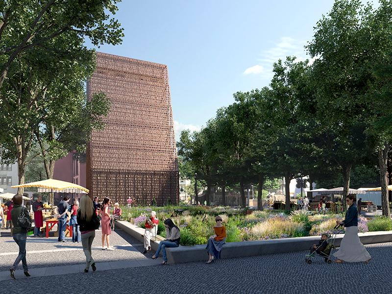 Zu sehen ist der Bibelturm und die geplante neue Grünfläche auf dem Liebfrauenplatz.