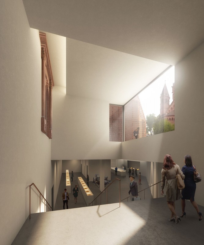 Treppenabgang zur Ausstellungsfläche im sogenannten Bibelturm, der Schatzkammer mit den Gutenberg-Bibeln