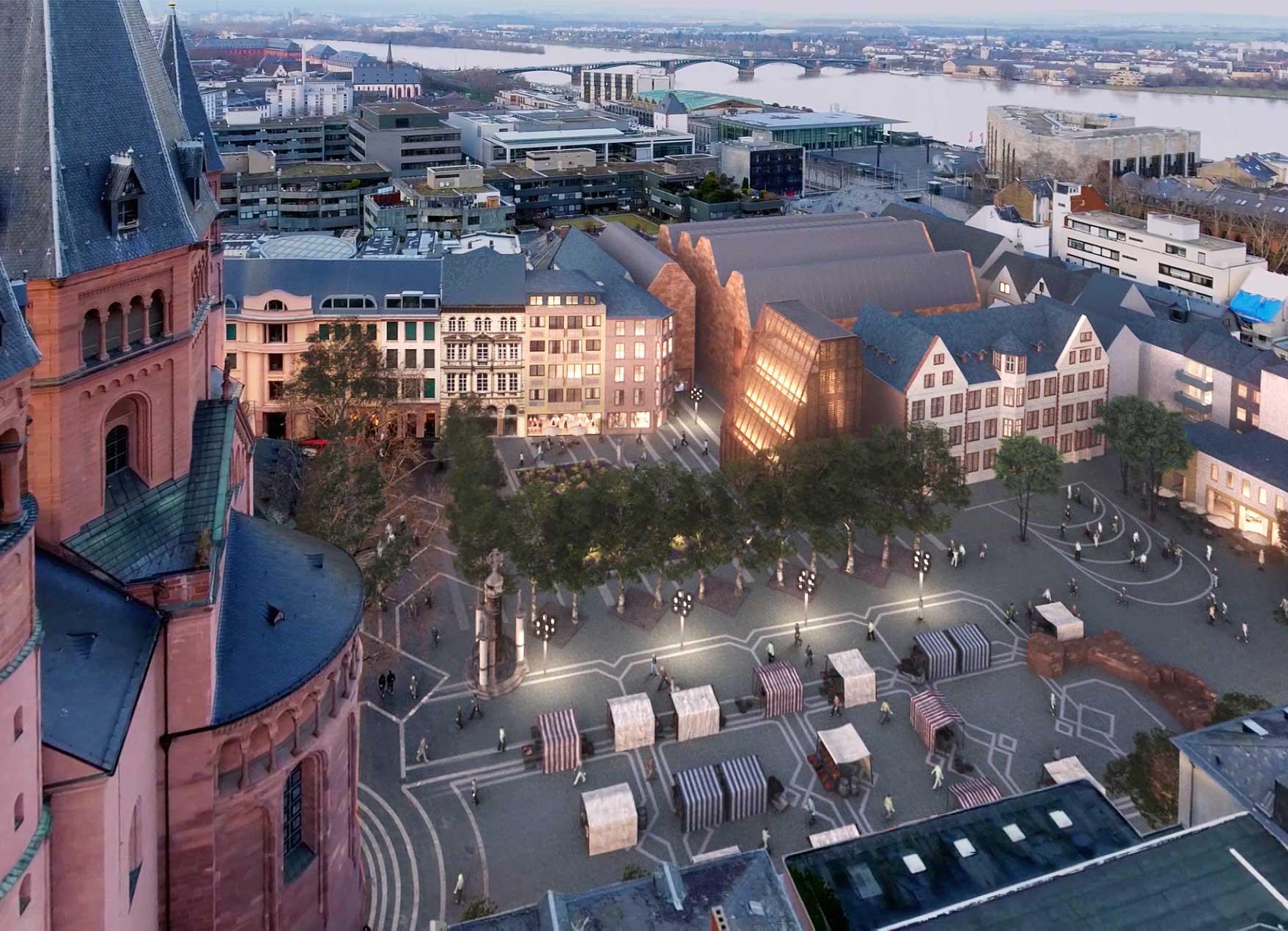 Zu sehen ist eine Visualisierung des neuen Gutenberg-Museums mit beiden Bauabschnitten.